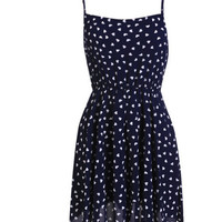 Heart Shape Print Elastic Waist Strap Dress