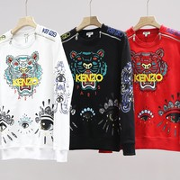 KENZO fashion casual lovers tiger head embroidery + printed sweater