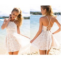FASHION HOT STRAPS LACE DRESS