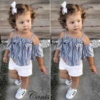 USA Fashion Toddler Kids Baby Girl Clothes striped Tops+Short Pants Outfits Set