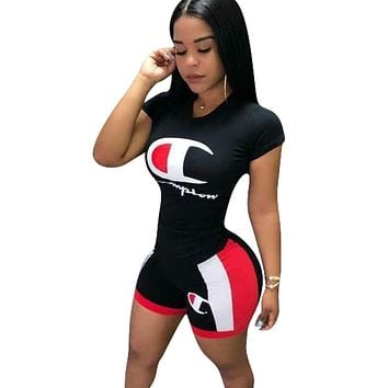 Champion New Fashion Letter Print Personality Top And Shorts Sports Leisure Two Piece Suit Black