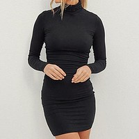 Women Fashion Black Turtleneck Short Dress Female Thin Long Sleeve Elastic Slim Bodycon Dress Larger