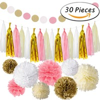 Paxcoo 30 Pcs Tissue Paper Pom Poms Flowers Tissue Tassel Garland Polka Dot Paper Garland Kit for Wedding Party Decorations