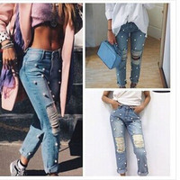 SIMPLE - Women's autumn winter loose casual ripped boyfirned holes Jeans denims a13609