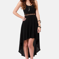 Play the Middle Black High-Low Dress