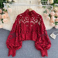 Sexy Lace Hollow Out Short Blouse Casual Lantern Long Sleeve Stand Collar Shirts Female Elegant Red Loose Tops