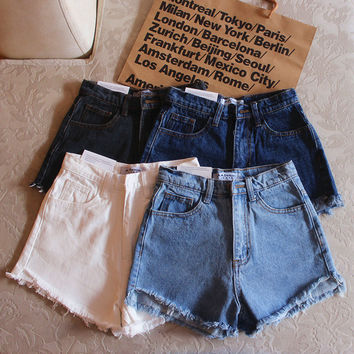 """American Apparel"" All-match Retro Tassel Edge High Waist Denim Shorts Hot Pants Jeans"