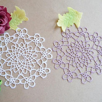 Two tatting  lace coasters-Housewarming-vintage style-lace doily-table decor-victorian  wedding-wedding coasters-white and lilac coasters