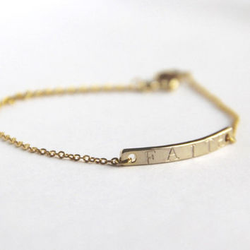 Custom stamped 16K gold plated bar bracelet, mother sister daughter/bridesmaid gift,dainty/minimalist bracelet, personalized, FREE SHIPPING!