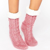 ASOS Cable Faux Fur Lined Slipper Sock at asos.com