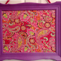 Upcycled Frame wire paisley hair bow jewelry photo organizer holder board pink purple orange yellow embellished custom orders welcome
