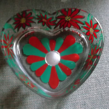 Christmas Poinsettias Painted Glass Candy Dish Red and Green Flowers Heart Shape Love Friend Coworker Secret Santa Teacher Gift