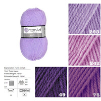 YarnArt ELITE, purple pattern yarn, knitting acrylic yarn, crochet acrylic yarn, knitting supplies, scarf yarn, sock yarn, sweater yarn,