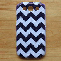 Blue & white Vintage Chevrons - Snap on Hard Back Protective case cover for Samsung Galaxy SIII S3 i9300 S III S 3 New - A82