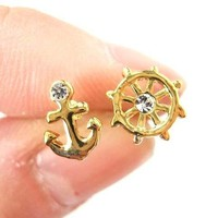 Small Anchor and Wheel Nautical Stud Earrings in Gold