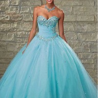 [159.99] Chic Tulle Sweetheart Neckline Floor-length Ball Gown Quinceanera Dress - Dressilyme.com