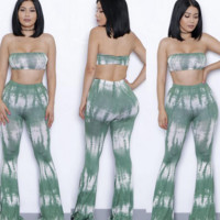 FASHION GREEN PRINT TWO PIECE JUMPSUIT