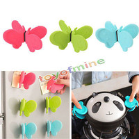 2pcs Kitchen Butterfly take anti-scald insulation plate holder, oven mitt (pot ear clip) hand holding a bowl clip Random color