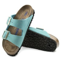 DCCK1 Birkenstock Arizona Soft Footbed Nubuck Leather Turquoise 1011259 Sandals