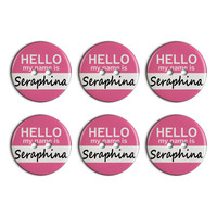 Seraphina Hello My Name Is Plastic Resin Button Set of 6