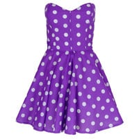 Pin-Up Purple Polka Dot Prom Party Dress | Style Icon`s Closet