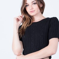 Knit Cropped Sweater Tee