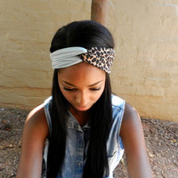 Sky Blue 2-in-1 Turban, Gypsy Turban, Two Tone Headband, Two Tone Turban, Stretchy Headband, Boho Hair Accessories, Boho Turban, Head Wrap