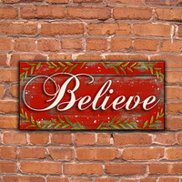 "Handmade Wood Believe Wooden Christmas Sign Approx. 18.5""x8.5""x.75"" Red Christmas sign Believe sign Christmas decor Holiday signs"