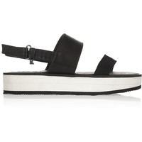 Karl Lagerfeld - Leather and canvas slingback sandals