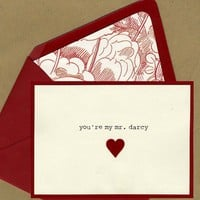 You're my Mr Darcy Card by bbinvitations on Etsy