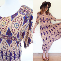 Vintage pleated wrinkle gypsy baroque print purple hippie boho bohemian maxi embroidered beaded large