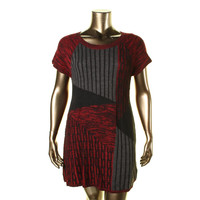 Style & Co. Womens KNit Patchwork Sweaterdress