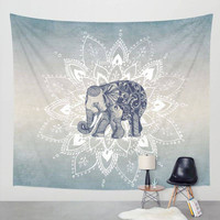 Elephant Tapestry Aubusson Colored Printed Decorative Mandala Tapestry Indian Religious Boho Wall Carpet Living Room Blanket SY5