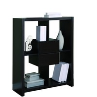 """Cappuccino Hollow-Core 48""""H Bookcase With Storage Drawers"""