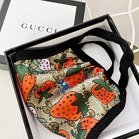 GUCCI Masks Strawberry Masks, satin and glossy fabrics, high-quality cotton Protective mask