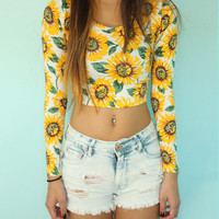 Sun Flower Print Long Sleeve Cropped Top
