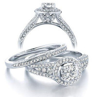 1-1/4 CT. T.W. Diamond Solitaire Frame Bridal Set in 14K White Gold - View All Rings - Zales