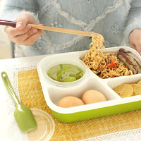 4 Cells Healthy Plastic Lunch Box 1000ml Multifunction Adults Lady Kid Lunchbox Microwaveable Bento Box Food Container