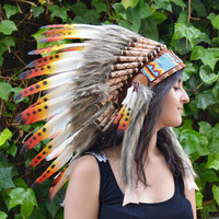 Three colors Chief indian Feather Headdress / native american Warbonnet .
