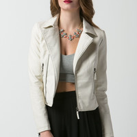 Leather PU Jacket - Off White