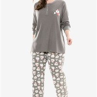 Printed thermal knit Henley pj set by Dreams & Co.®