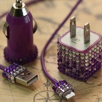 iPhone 5 Purple Bling Ombre Rhinestone Cell Phone Charger 3-Piece Set