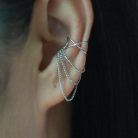 Cross X ear cuff with 3 Chains ,No Piercing Cartilage Ear Cuff, Ear Jacket, Ear Wrap/Gift coupons