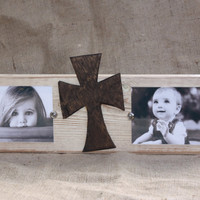 Handmade distressed block picture frame; double 4x6 pictures; cross; ivory