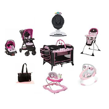Minnie Garden Delights Complete Baby Gear Bundle w Bouncer,Swing & Diaper Bag
