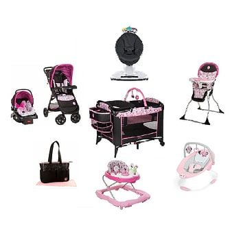 Disney Minnie Garden Delights Complete Baby Gear Bundle with Swing & Diaper Bag