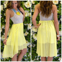 Canary Island Hi-Lo Yellow Tank Dress