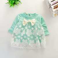 Kids Baby Girls T shirt Clothes Toddlers Floral Shirt Dress Long Sleeve T-shirt Lace Tulle Tops Clothing 1-4YUBY