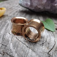 Rose Gold Ear Tunnels 0g Plugs 8mm Screw-Fit Pair 00g 10mm Gauges 1/2 12mm Gauge Stretcher Expander High Quality Flair Ears Double Flare 2g
