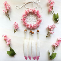 "3"" Pink Floral Glitter Dream Catcher - Car Dream Catcher"